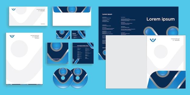 Abstrakcyjna kręcona litera v nowoczesna identyfikacja biznesowa stacjonarna