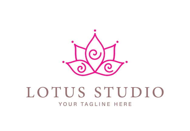 Abstrakcyjna linia lotosu ze spiralami do projektowania logotypu studio jogi