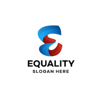 Abstrakcyjna litera e gradient kolorowy szablon logo