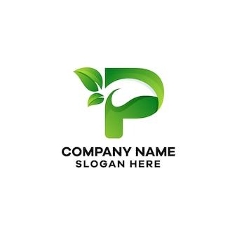 Abstrakcyjna litera p liść gradient logo szablon