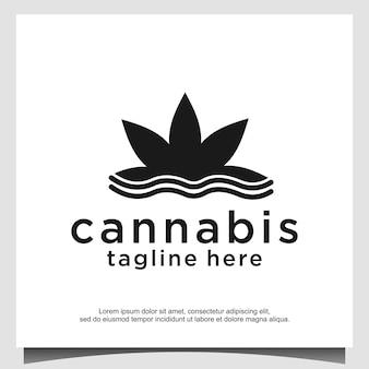 Abstrakcyjna marihuana, konopie indyjskie, ganja do cbd z falą prostym unikalnym projektem logo