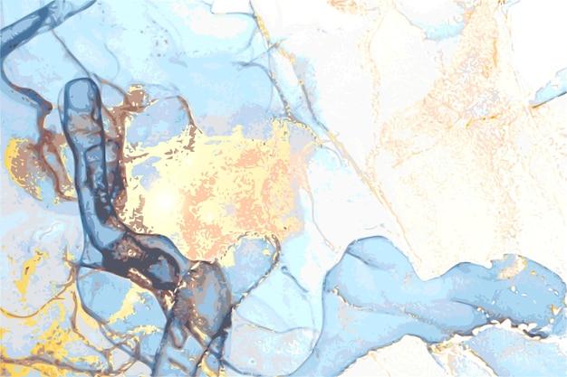Abstrakcyjna marmurowa tekstura w orientalnej technice tuszu alkoholowego z brokatem
