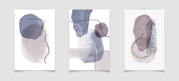 Abstrakcyjna, minimalistyczna kompozycja akwareli z płynnymi elementami plam i złotymi liniami