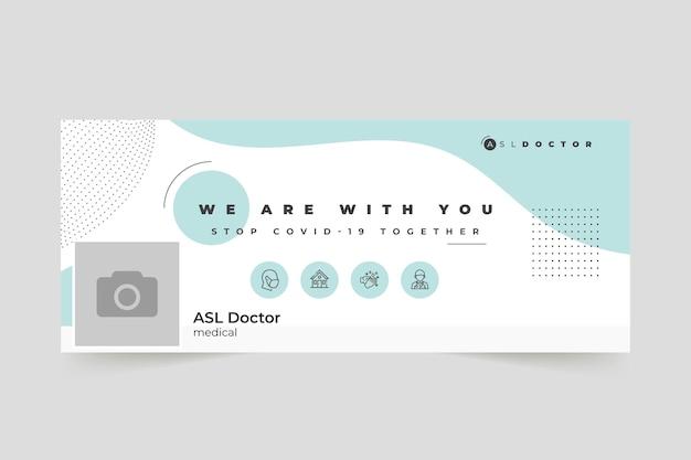 Abstrakcyjna minimalistyczna okładka facebooka na koronawirusa