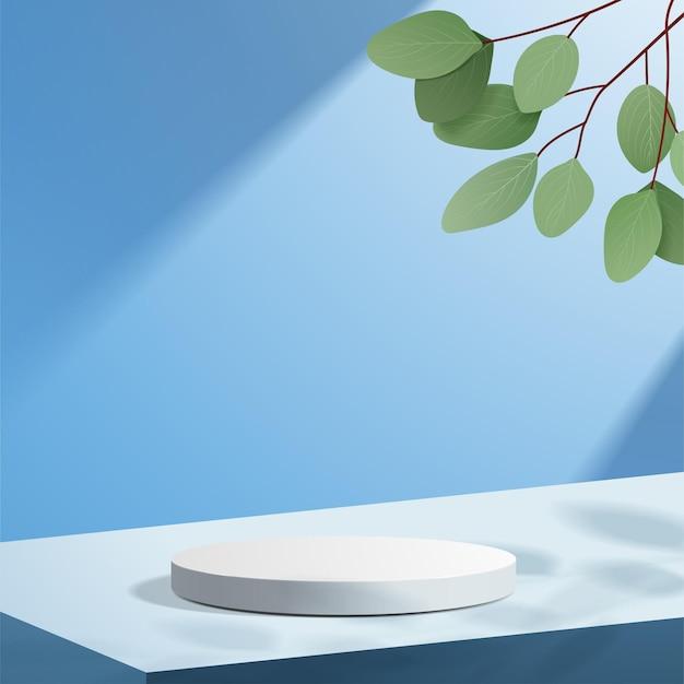 Abstrakcyjna minimalistyczna scena z geometrycznymi formami. podium cylindra na niebieskim tle z liśćmi.