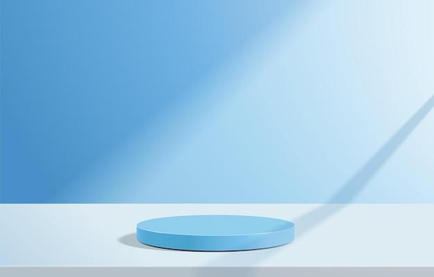 Abstrakcyjna minimalistyczna scena z geometrycznymi formami. podium cylindra na niebieskim tle.