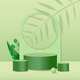 Abstrakcyjna minimalistyczna scena z geometrycznymi formami. podium cylindra z zielonymi liśćmi roślin.