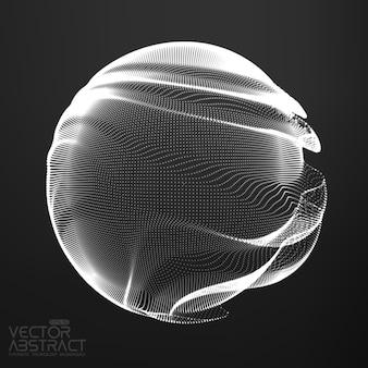 Abstrakcyjna monochromatyczna kula z siatki