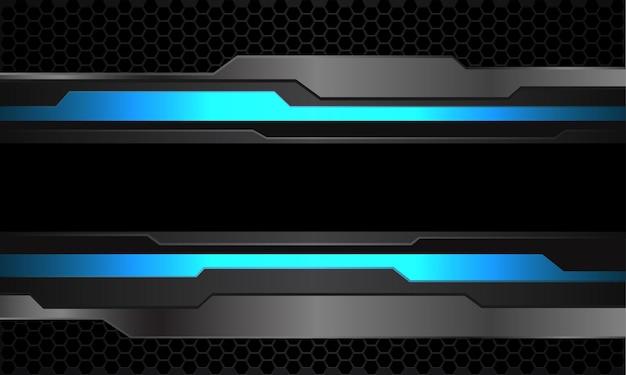 Abstrakcyjna niebieska neonowa szara metaliczna cyber czarna linia na ciemnej sześciokątnej siatce nowoczesna futurystyczna technologia