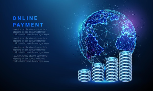 Abstrakcyjna niebieska planeta ziemia ze stosami monet globalna koncepcja płatności projekt w stylu low poly