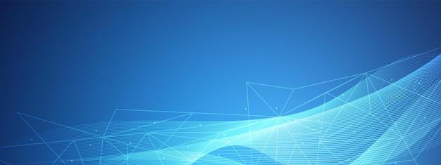 Abstrakcyjna niebieska technologia fala projekt sieci cyfrowej tło geometryczne trójkątne połączenie