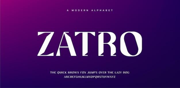 Abstrakcyjna nowoczesna czcionka alfabetu. minimalistyczny projekt typografii