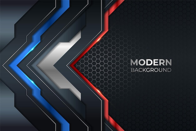 Abstrakcyjna nowoczesna technologia błyszczący metaliczny niebieski i czerwony z sześciokątnym ciemnym tłem