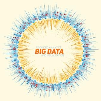 Abstrakcyjna okrągła wizualizacja dużych danych.