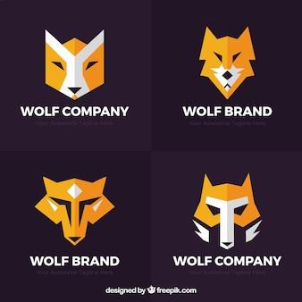 Abstrakcyjna płaskie logo kolekcji wilka
