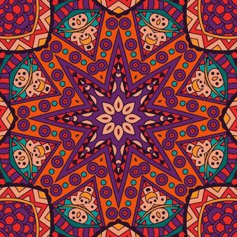 Abstrakcyjna plemienna mandala etniczna bezszwowe wzór ozdobny nadruk