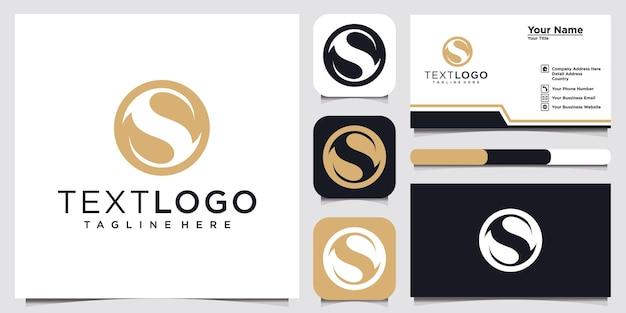 Abstrakcyjna początkowa litera s z liśćmi minimalistyczny szablon projektu logo wizytówka