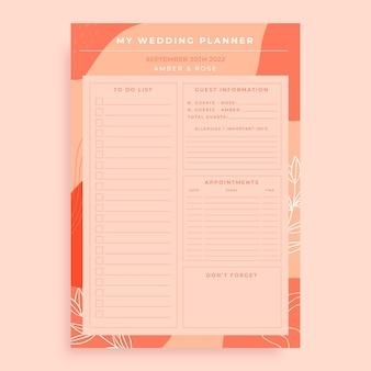 Abstrakcyjna pomarańczowa planistka ślubna