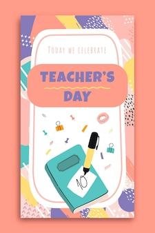 Abstrakcyjna, ręcznie rysowana historia na instagramie z okazji dnia nauczyciela