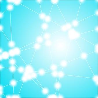 Abstrakcyjna siatka trójkątów z błyszczącymi światłami