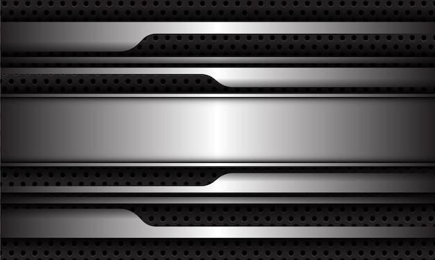 Abstrakcyjna srebrna linia geometryczna futurystyczny cień w ciemnoszarym okręgu oczek nowoczesne luksusowe tło