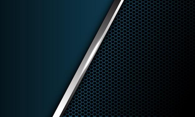 Abstrakcyjna srebrna linia ukośna ciemnoniebieska metaliczna sześciokątna siatka pusta konstrukcja nowoczesny luksus futurystyczny