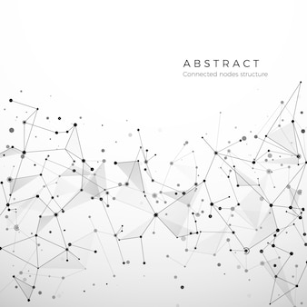 Abstrakcyjna struktura splotu danych cyfrowych, sieci i węzłów. połączenie cząstek i kropek. koncepcja atomu i cząsteczki. geometryczne wielokątne tło medyczne. skomplikowana sieć. ilustracja