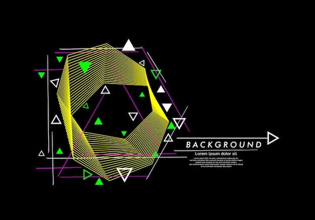 Abstrakcyjna sztuka tła geometrycznych linii z okręgami i liniami w kolorze czarnym