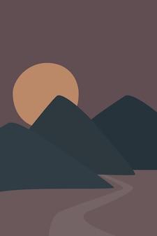 Abstrakcyjna sztuka współczesna z nocnym krajobrazem gór i dekoracją ścienną boho w pełni księżyca vector