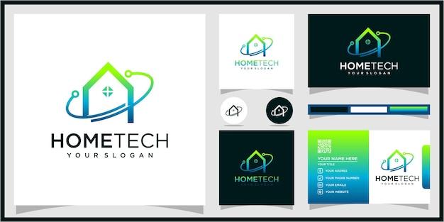 Abstrakcyjna technika domowa z logo stylu linii premium wektorów