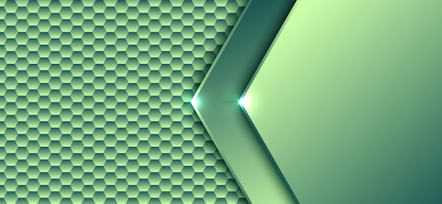 Abstrakcyjna technologia cyfrowa koncepcja zielony sześciokątny wzór elementu gradientu z lekkim tłem grafiki i teksturą.