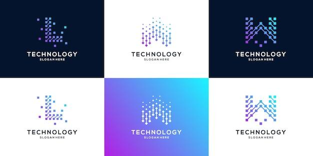 Abstrakcyjna technologia cyfrowa z początkową kolekcją logo l i w