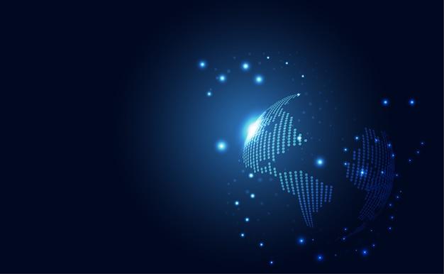 Abstrakcyjna technologia globalna sieć połączenie futurystyczna ziemia