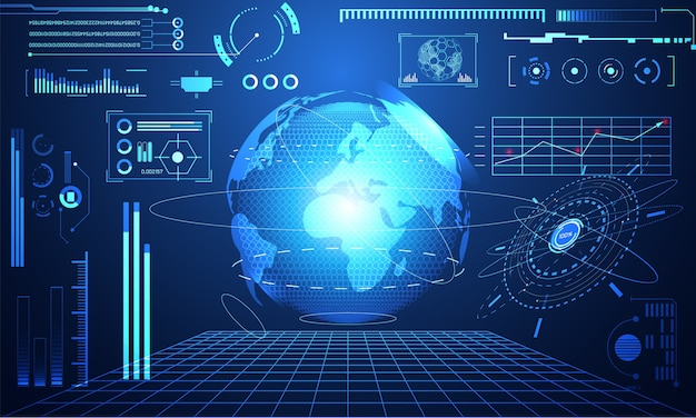 Abstrakcyjna technologia ui futurystyczny koncepcja hud światowy interfejs hologram