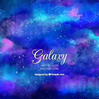 Abstrakcyjna tła akwarele galaktyki w kolorze niebieskim