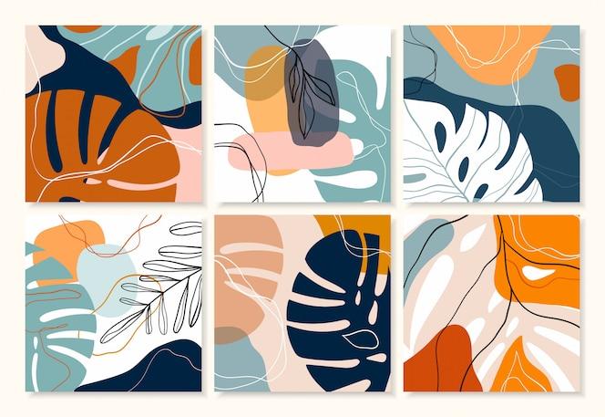 Abstrakcyjna tropikalna kolekcja tła / plakatów / banerów z nowoczesnym dekoracyjnym wzorem, pastelowe kolory
