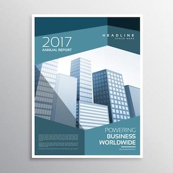 Abstrakcyjna ulotka firmy lub broszura szablon projektu z geometrycznych kształtów niebieski