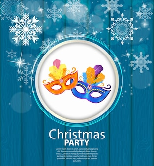 Abstrakcyjna uroda wesołych świąt i nowego roku tło party z masquerade carnival mask