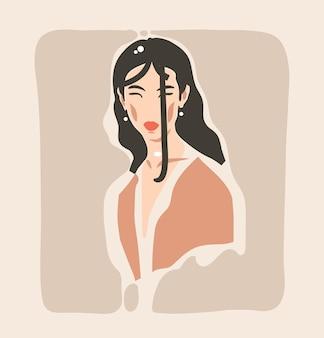 Abstrakcyjna współczesna estetyczna ilustracja mody z artystyczną, piękną nowoczesną kobietą