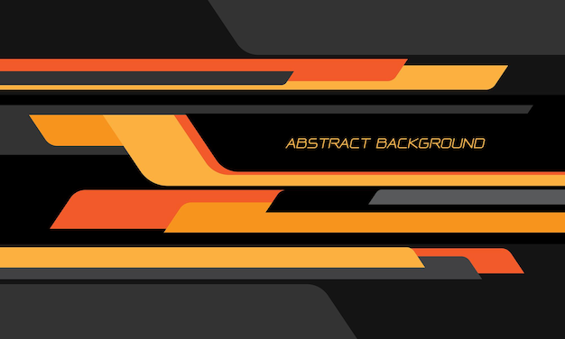 Abstrakcyjna żółto-pomarańczowa czarna geometryczna prędkość nakładania się na ciemnoszarym tle nowoczesnej futurystycznej technologii