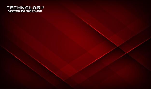 Abstrakcyjne 3d ciemnoczerwone tło technologii nakłada się na warstwę z geometrycznymi kształtami