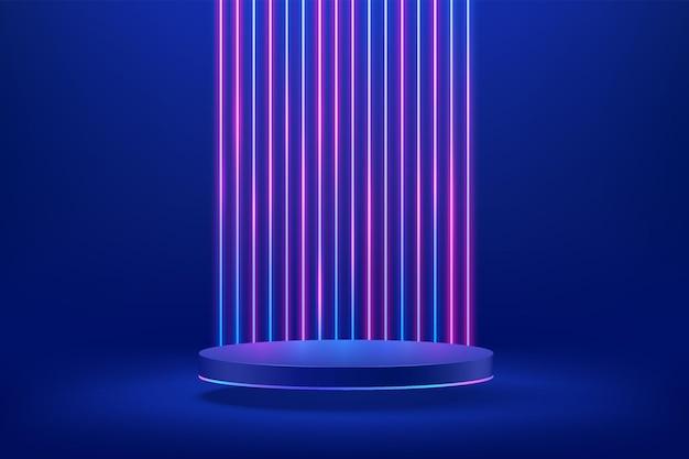 Abstrakcyjne 3d ciemnoniebieski cylinder podium z pionowym świecącym neonowym tłem