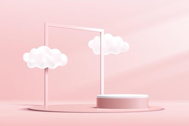 Abstrakcyjne 3d różowo-białe podium z cylindrem na cokole z chmurowym niebem i geometryczną kwadratową ramą
