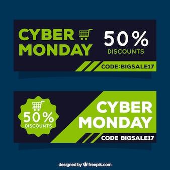 Abstrakcyjne banery sprzedaży poniedziałek cyber