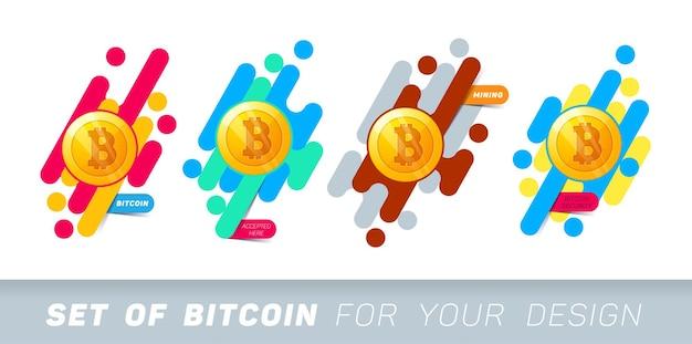 Abstrakcyjne banery ze złotą monetą z symbolem bitcoin