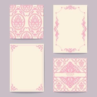 Abstrakcyjne barokowe tła królewskie w kolorze różowym i białym