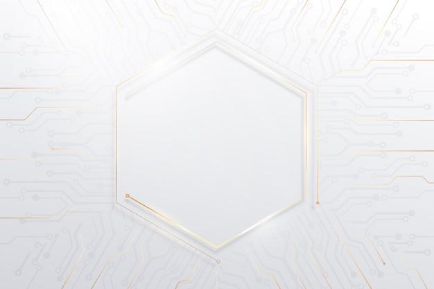 Abstrakcyjne białe, złote linie i kropki łączą się z futurystycznym tłem płytek drukowanych. połączenie technologii internetowej z danymi.