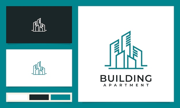 Abstrakcyjne budynki miasta dla inspiracji, projektowanie logo, z koncepcją linii