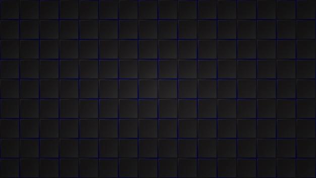 Abstrakcyjne ciemne tło czarnych kwadratowych płytek z niebieskimi przerwami między nimi