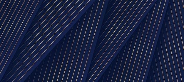 Abstrakcyjne ciemnoniebieskie geometryczne kształty nakładają się na warstwy na tle z luksusowymi złotymi liniami